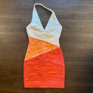 Bebe Halter Bodycon Color blocked Cocktail Dress